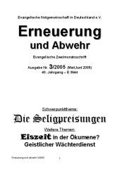 Erneuerung und Abwehr - DIE CHARISMATISCHE BEWEGUNG.